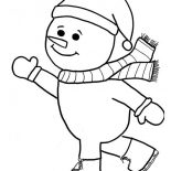 Winter, Mr Snowman Playing Skate On Winter Season Coloring Page: Mr Snowman Playing Skate on Winter Season Coloring Page