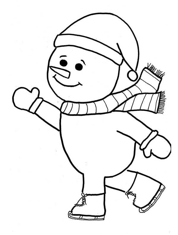 Winter, : Mr Snowman Playing Skate on Winter Season Coloring Page