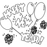 New Year, New Years Eve Celebration With Irish Shamrocks On 2015 New Year Coloring Page: New Years Eve Celebration with Irish Shamrocks on 2015 New Year Coloring Page