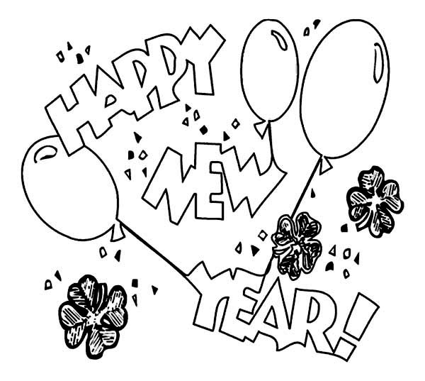 New Year, : New Years Eve Celebration with Irish Shamrocks on 2015 New Year Coloring Page