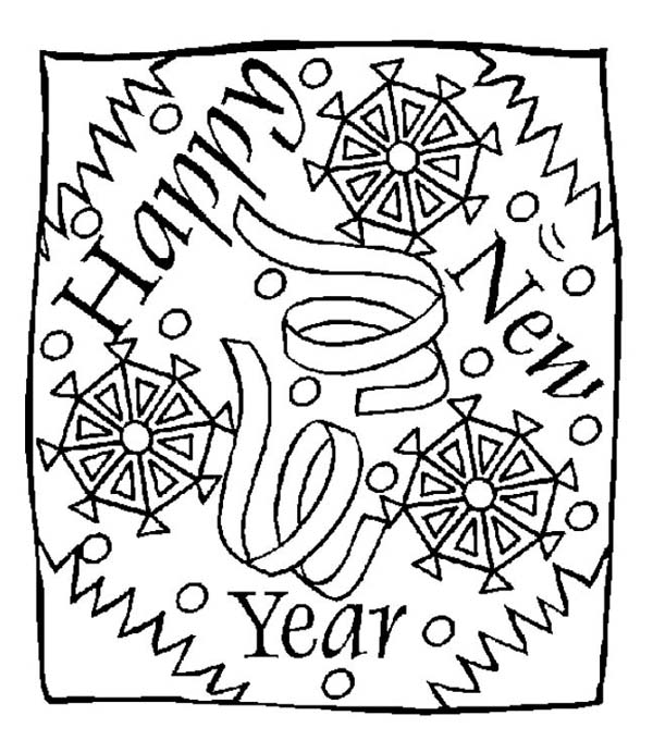 New Year, : New Years Eve Greeting Message on 2015 New Year Coloring Page