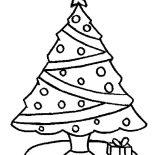 Christmas Trees, One Christmas Trees And One Christmas Gift Coloring Pages: One Christmas Trees and One Christmas Gift Coloring Pages