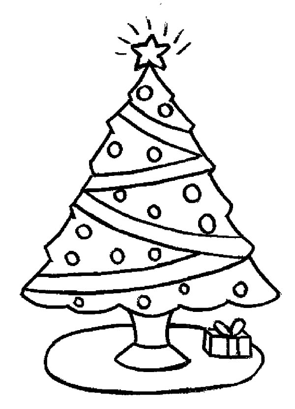 Christmas Trees, : One Christmas Trees and One Christmas Gift Coloring Pages