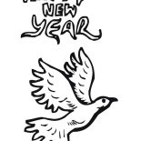 New Year, Pigeon Says Joyful And Happy 2015 New Year Coloring Page: Pigeon Says Joyful and Happy 2015 New Year Coloring Page