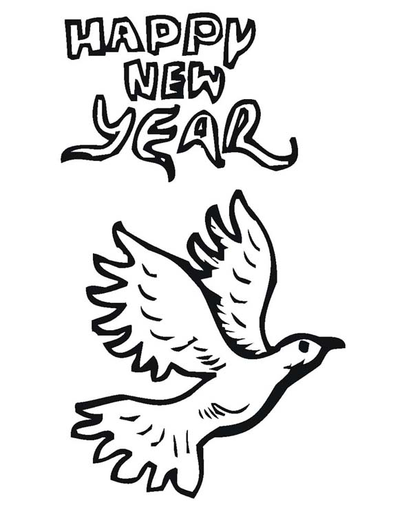 New Year, : Pigeon Says Joyful and Happy 2015 New Year Coloring Page