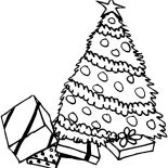 Christmas Trees, Pile Of Presents Under Christmas Trees Coloring Pages: Pile of Presents Under Christmas Trees Coloring Pages