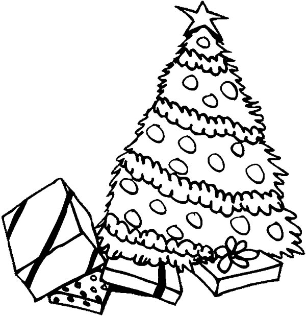 Christmas Trees, : Pile of Presents Under Christmas Trees Coloring Pages