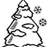 Winter, Pine Tree Covered With Winter Season Snow Coloring Page: Pine Tree Covered with Winter Season Snow Coloring Page