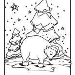 Winter, Polar Bear Wearing Santas Hat On Winter Season Coloring Page: Polar Bear Wearing Santas Hat on Winter Season Coloring Page