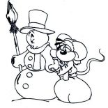 Winter, Sad FaceMr Snowman And Miece On Winter Season Coloring Page: Sad FaceMr Snowman and Miece on Winter Season Coloring Page