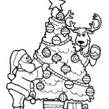 Christmas Trees, Santa Claus And His Deer Decorating Christmas Trees Coloring Pages: Santa Claus and His Deer Decorating Christmas Trees Coloring Pages