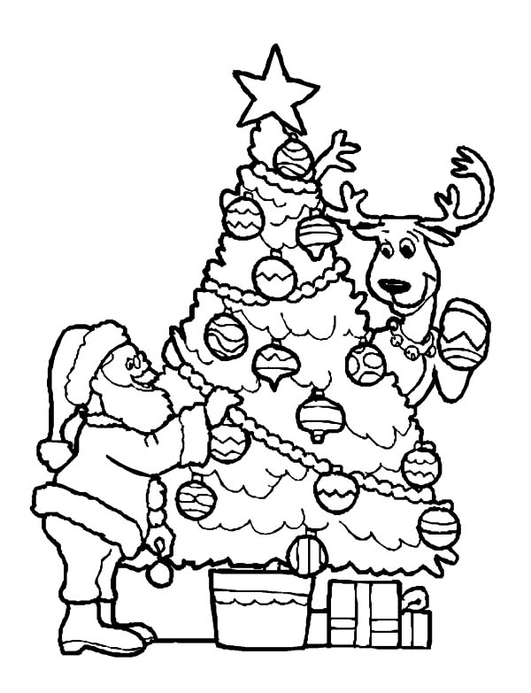 Christmas Trees, : Santa Claus and His Deer Decorating Christmas Trees Coloring Pages
