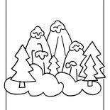 Winter, Snowy Winter Season Mountain Illustration Coloring Page: Snowy Winter Season Mountain Illustration Coloring Page