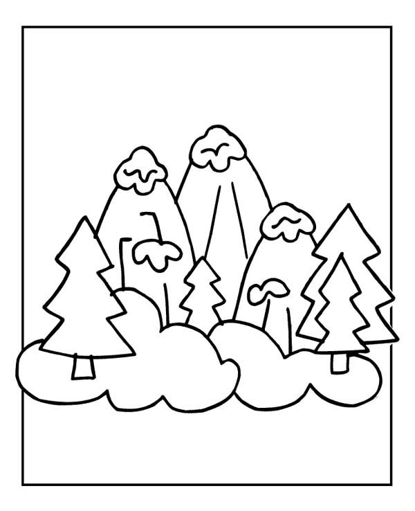 Winter, : Snowy Winter Season Mountain Illustration Coloring Page