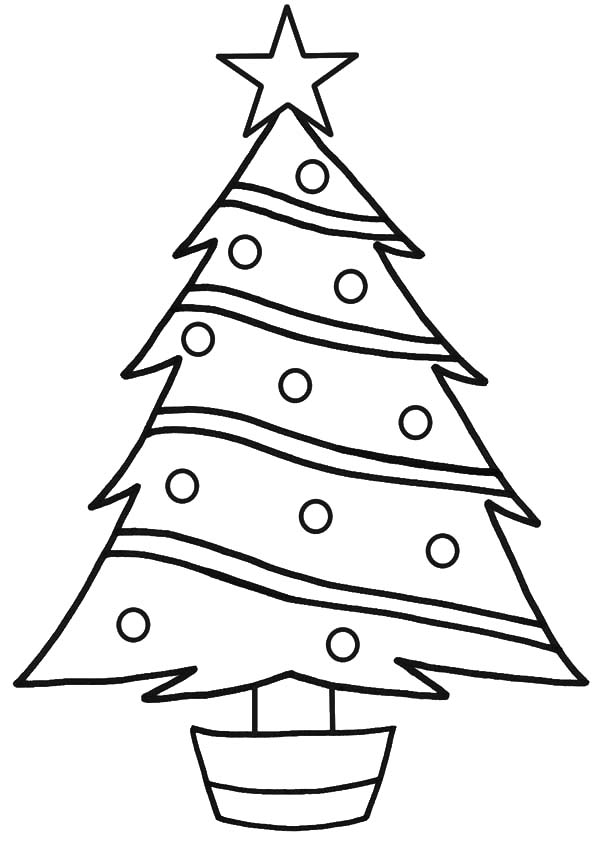 Christmas Trees, : Star on Top Christmas Trees Coloring Pages