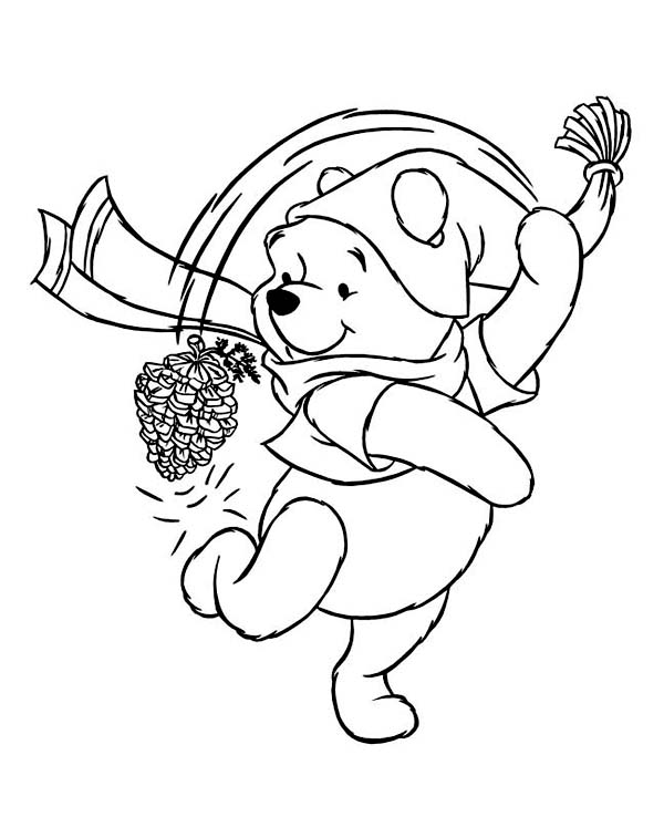 Winter, : Winnie the Pooh Playing with Cone Pine on Winter Season Coloring Page