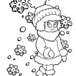 Winter, Young Little Girl In Winter Season Outfit Coloring Page: Young Little Girl in Winter Season Outfit Coloring Page