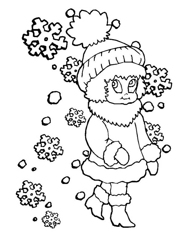 Winter, : Young Little Girl in Winter Season Outfit Coloring Page