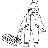 Winter, Young Little Kid With His Winter Season Sled Coloring Page: Young Little Kid with His Winter Season Sled Coloring Page