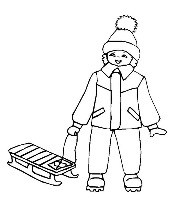 Winter, : Young Little Kid with His Winter Season Sled Coloring Page