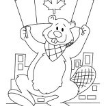 Canada Day, A Beaver Holding Canada Flag On Canada Day 2015 Coloring Pages: A Beaver Holding Canada Flag on Canada Day 2015 Coloring Pages