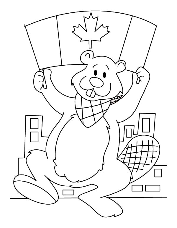 Canada Day, : A Beaver Holding Canada Flag on Canada Day 2015 Coloring Pages