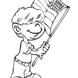 Independence Day, A Little Boy Waving Flag On Independence Day Event Coloring Page: A Little Boy Waving Flag on Independence Day Event Coloring Page