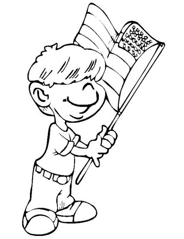 Independence Day, : A Little Boy Waving Flag on Independence Day Event Coloring Page