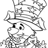 Independence Day, A Mouse Celebrating Independence Day Event Coloring Page: A Mouse Celebrating Independence Day Event Coloring Page