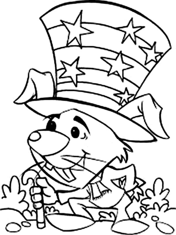 Independence Day, : A Mouse Celebrating Independence Day Event Coloring Page