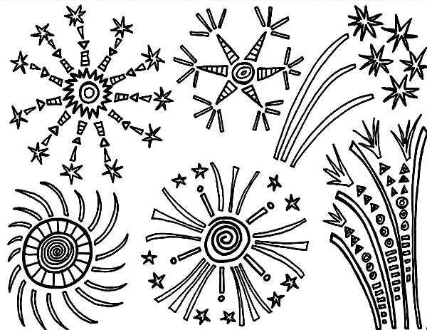 Independence Day, : Amazing Fireworks in the Sky on Independence Day Event Coloring Page