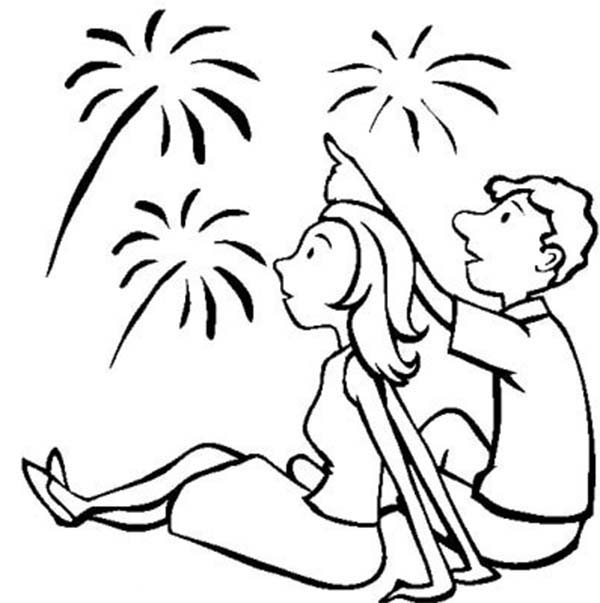 Independence Day, : Amazing Fireworks on Independence Day Event Coloring Page
