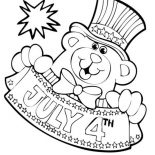Independence Day, Bear Mascot For Independence Day Event Coloring Page: Bear Mascot for Independence Day Event Coloring Page