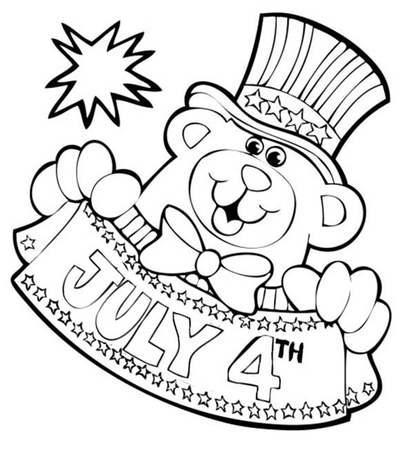 Independence Day, : Bear Mascot for Independence Day Event Coloring Page