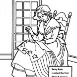 Independence Day, Betsy Ross Making USA Flag For Independence Day Event Coloring Pages: Betsy Ross Making USA Flag for Independence Day Event Coloring Pages