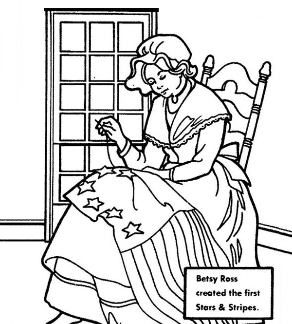 Independence Day, : Betsy Ross Making USA Flag for Independence Day Event Coloring Pages