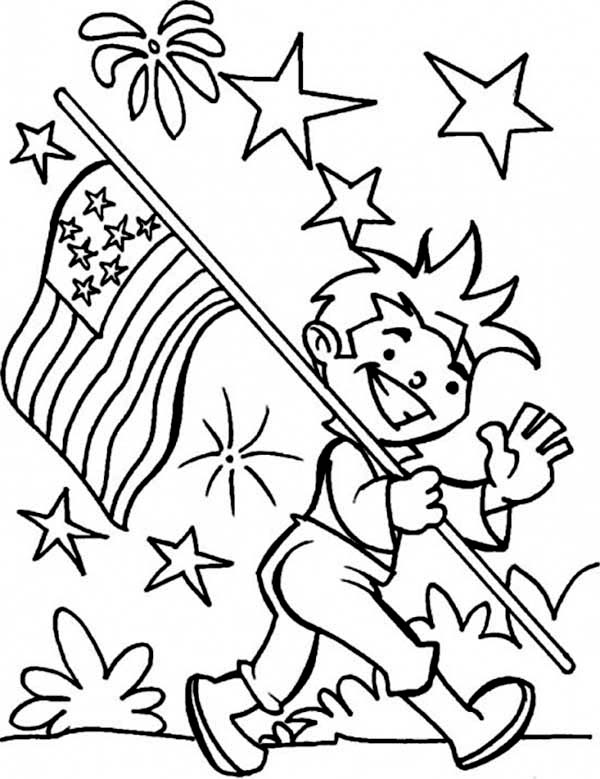 Independence Day, : Carrying USA Flag on Independence Day Event Coloring Page