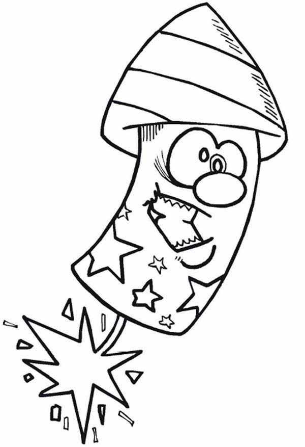 Independence Day, : Cartoon firecrackerer on Independence Day Event Coloring Page