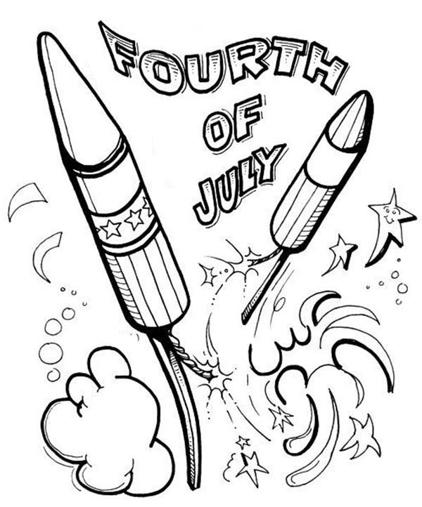 Independence Day, : Celebration Fireworks on Independence Day Event Coloring Page