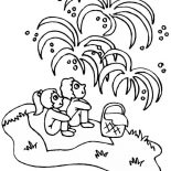Independence Day, Childrens Watching Fireworks On Independence Day Event Coloring Page: Childrens Watching Fireworks on Independence Day Event Coloring Page