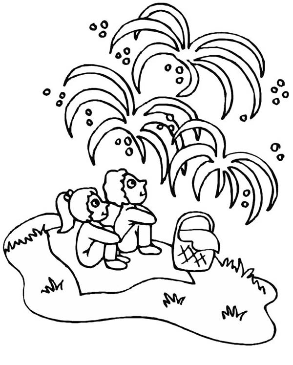 Independence Day, : Childrens Watching Fireworks on Independence Day Event Coloring Page