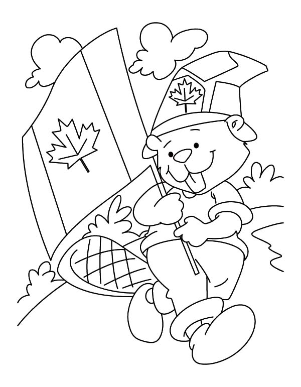Canada Day, : Cute Beaver Boyscout on Canada Day 2015 Coloring Pages