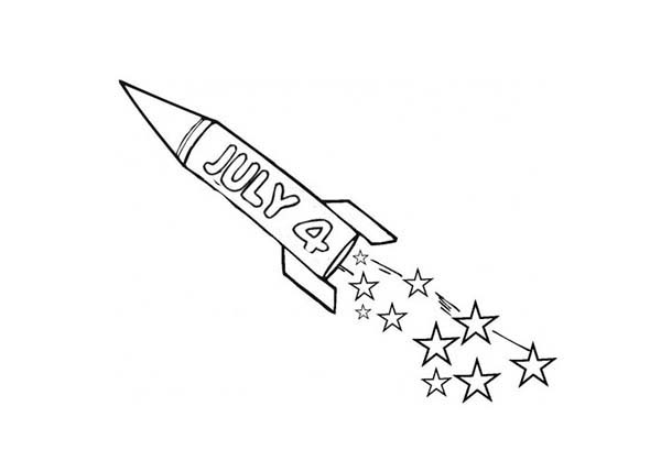 Independence Day, : Fireworks Rocket Independence Day Event Coloring Page