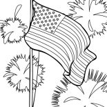 Independence Day, Flag And Fireworks Independence Day Event Coloring Page: Flag and Fireworks Independence Day Event Coloring Page 2