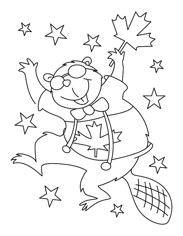 Canada Day, : Funny Beaver Dance on Canada Day 2015 Coloring Pages