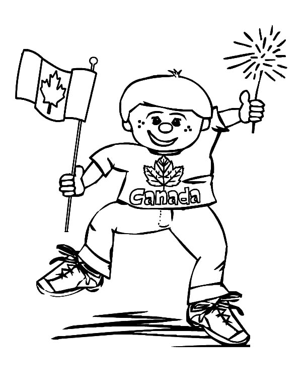 Canada Day, : Funny Boy on Canada Day 2015 Coloring Pages