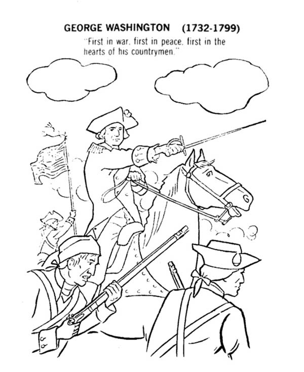 Independence Day, : George Washington Lead USA for Independence Day Event Coloring Pages