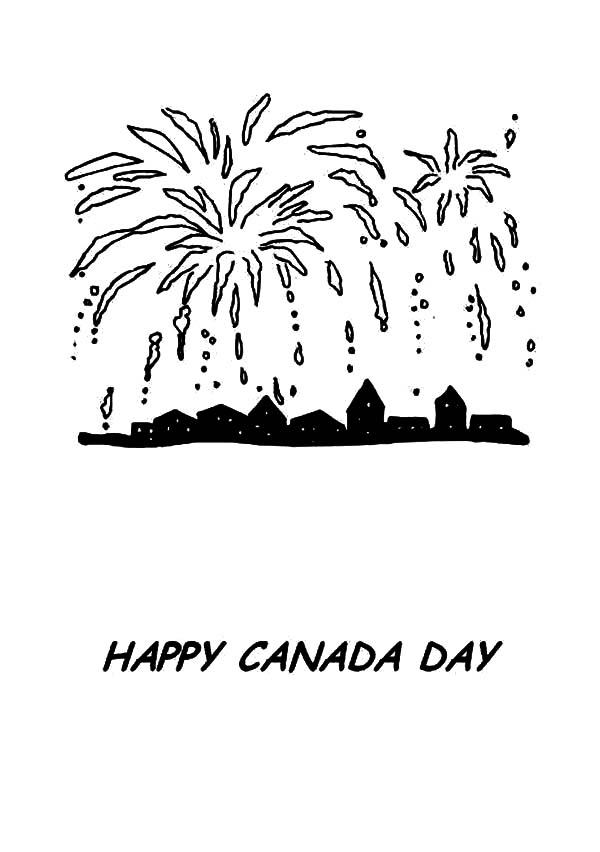 Canada Day, : Great Fireworks on Canada Day 2015 Coloring Pages