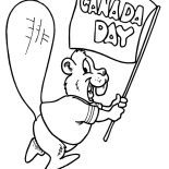 Canada Day, Happy Beaver Waving Banner For Canada Day 2015 Coloring Pages: Happy Beaver Waving Banner for Canada Day 2015 Coloring Pages