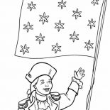 Independence Day, Honoring Flag On Independence Day Event Coloring Page: Honoring Flag on Independence Day Event Coloring Page